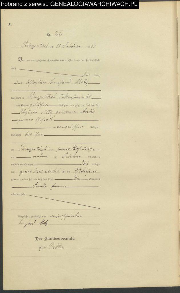 Geburtseintrag 26/1900 Prinzenthal von Frieda Erna METZ