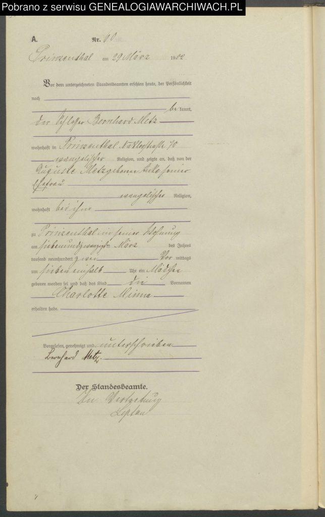 Geburtseintrag 60/1902 Prinzenthal von Charlotte Minna METZ