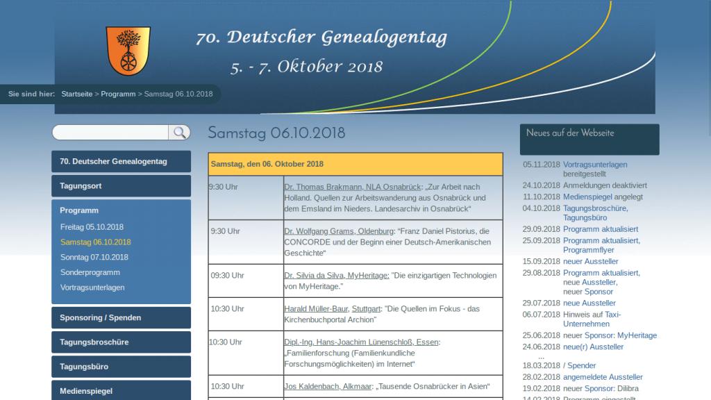 Programmübersicht des 70. DGT 2018