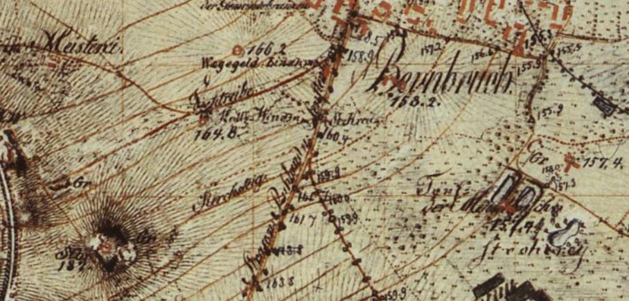 Bernbruch auf den Meilenblätter von Sachsen; Dresdner Exemplar; 1804