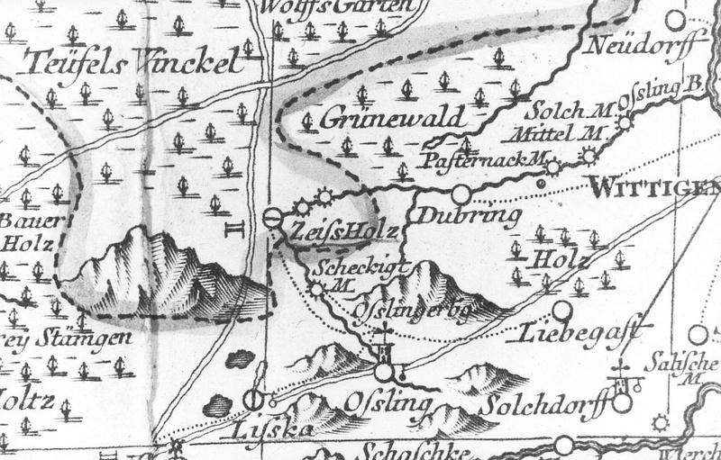 Bernsdorf-Zeißholz. Oberlausitzkarte, Schenk, 1759