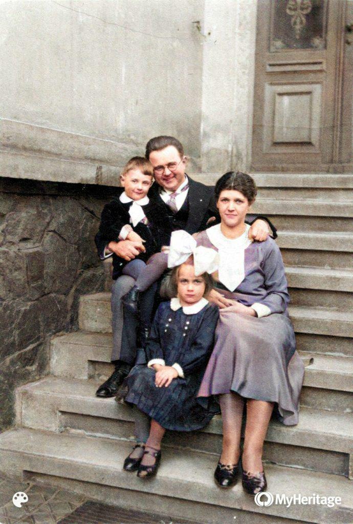 1931 Ostern mit Wolfgang, Fritz, Wilhelmine, Käthe; mit MyHeritage InColor koloriert