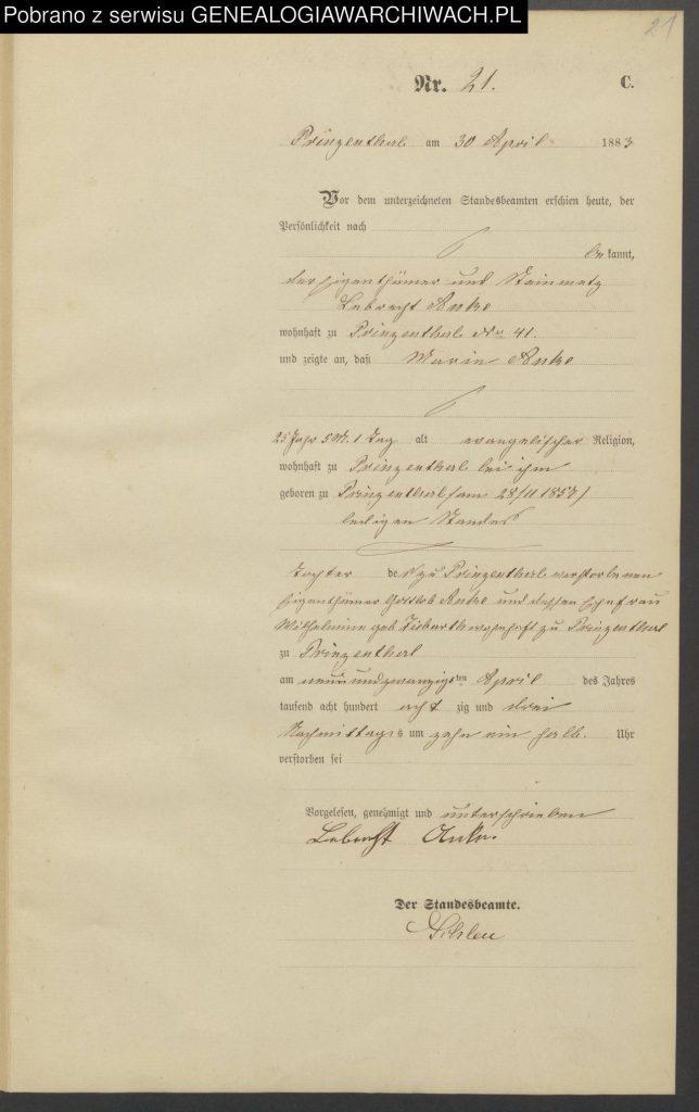 Sterbeeintrag 21/1883 Prinzenthal: Marie ANKE